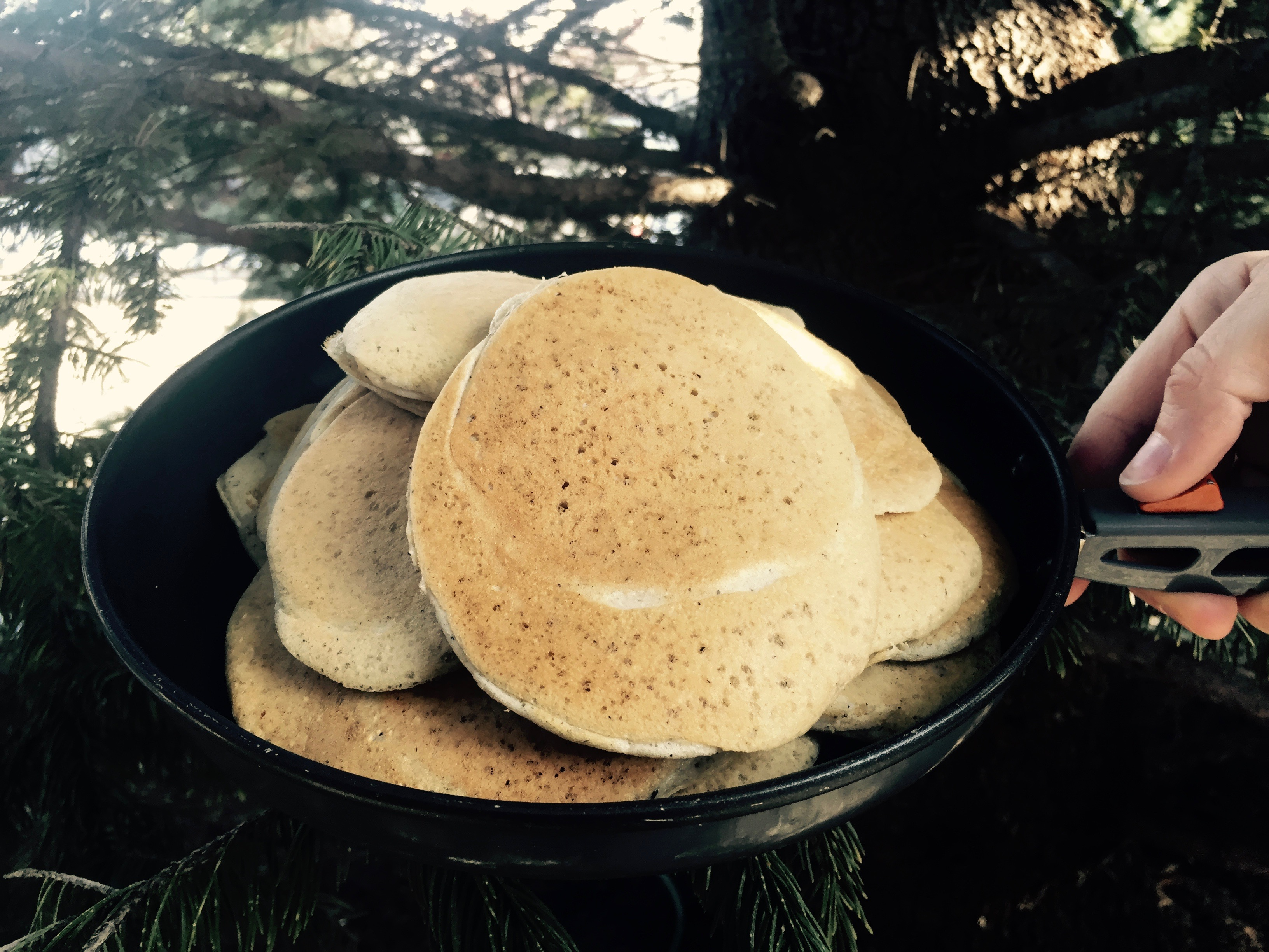 Pan full of Backcountry Protein Pancakes
