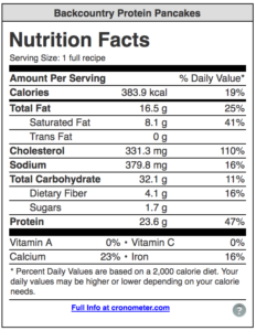Nutritional Information for the backcountry Protein Pancake Recipe